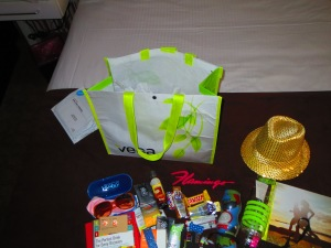 Gift bags and gold sequin fedora