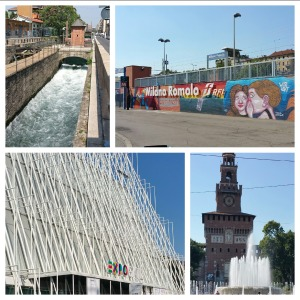 Sites around Milano: canal, train station, Expo ticket center, and Sforza castle