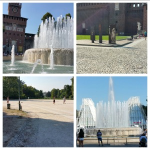 Sforza castle fountain, inside the courtyard of Sforza castle, peace square, and another Sforza fountain shot